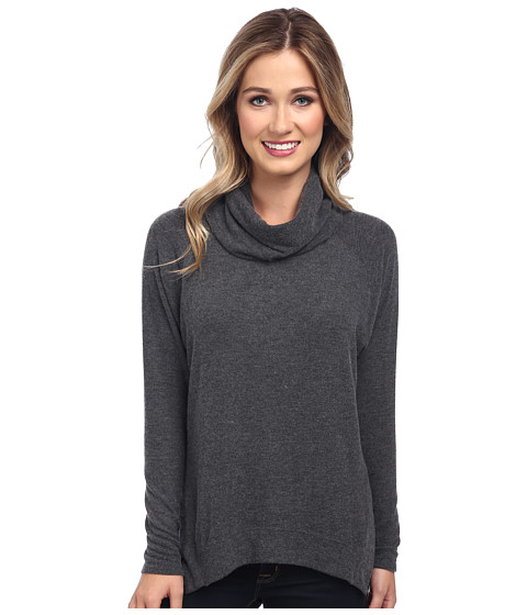 Velvet by Graham & Spencer - Carlana02 L/S Cowl Neck Sweatshirt (Charcoal) Women's Long Sleeve Pullover