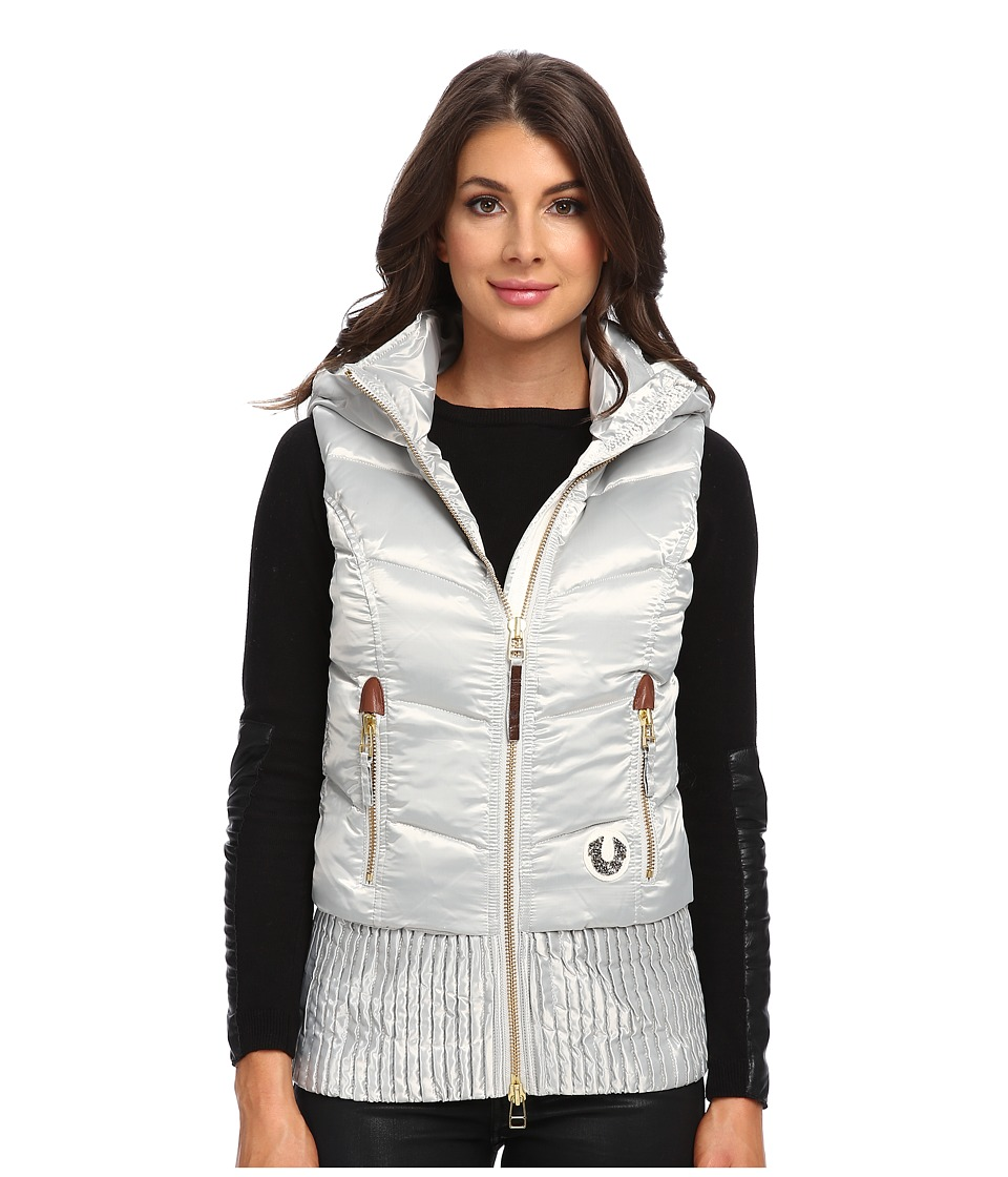 True Religion - Quilted Puff Gilet (Silver) Women's Coat