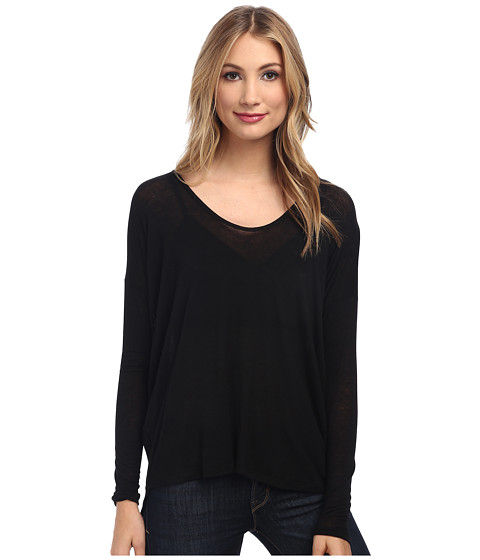 Velvet by Graham & Spencer - Harlem02 L/S Scoop Neck Top (Black) Women's Long Sleeve Pullover