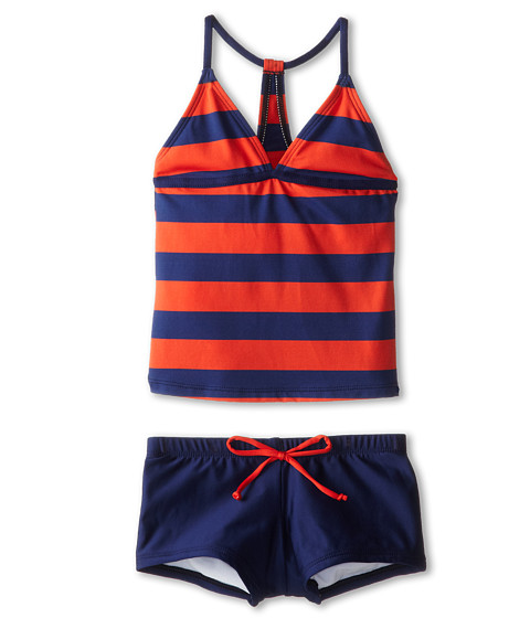 Splendid Littles - Marcel Stripe Tankini Boy Short (Big Kids) (Red) Girl's Swimwear Sets
