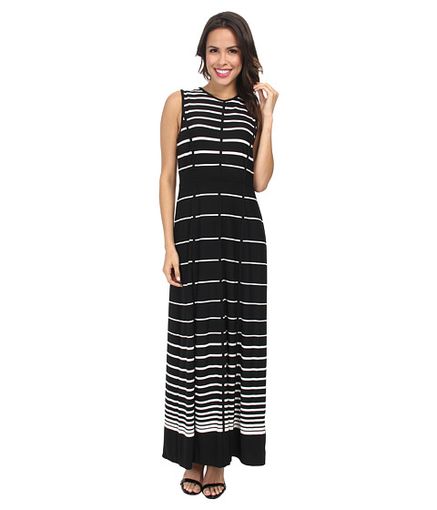 rsvp - Strapped Striped Maxi Dress (Black/Ivory) Women's Dress