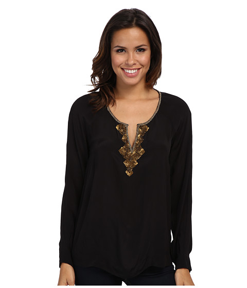 Adrianna Papell - Embellished Tunic w/ Inverted Pleat Detail (Black) Women