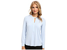 Adrianna Papell 3/4 Roll Sleeve Top w/ Woven Details (Ice Blue)
