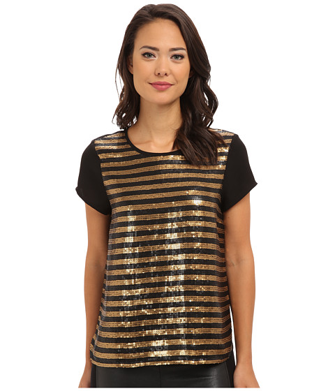 Adrianna Papell - Stripe Sequin Tee (Black/Gold) Women's Short Sleeve Pullover