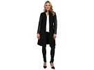 Adrianna Papell Long Fitted Coat w/ Leather Trim (Black)