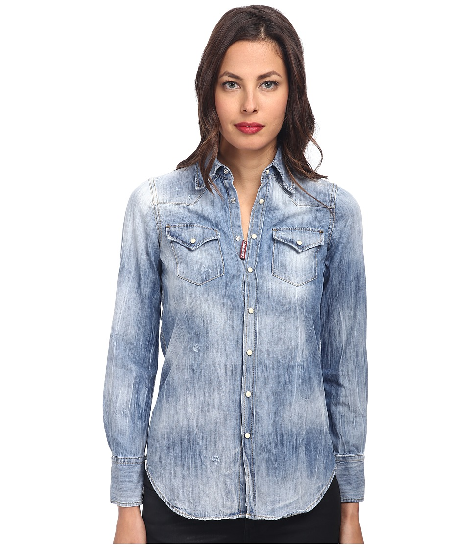 DSQUARED2 - Washed Denim Shirt (Blue) Women's Clothing
