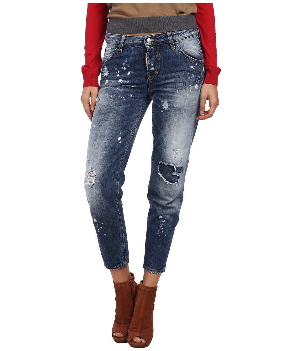 DSQUARED2 - Cropped Distressed Jeans (Blue) Women's Jeans