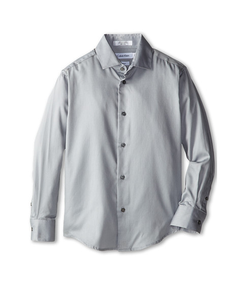 Calvin Klein Kids - Sateen Shirt (Big Kids) (Light Grey) Boy