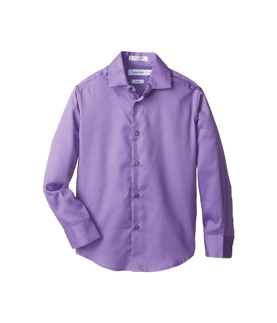 Calvin Klein Kids - Sateen Shirt (Big Kids) (Bright Purple) Boy's Long Sleeve Button Up