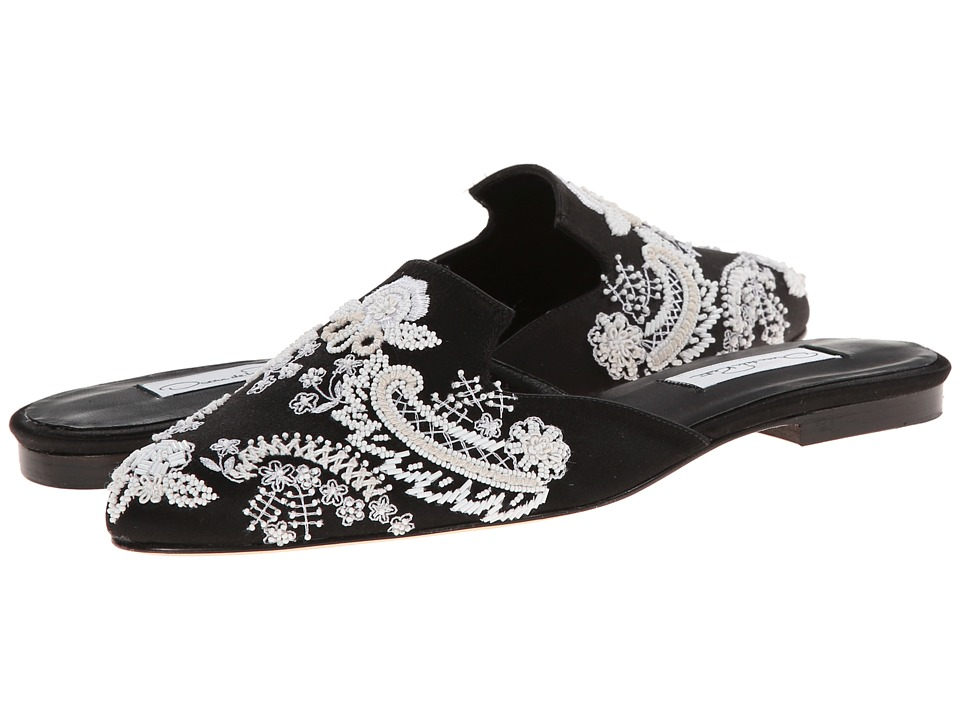 Oscar de la Renta - Vesna 10mm Slide (Black Embroidery) Women