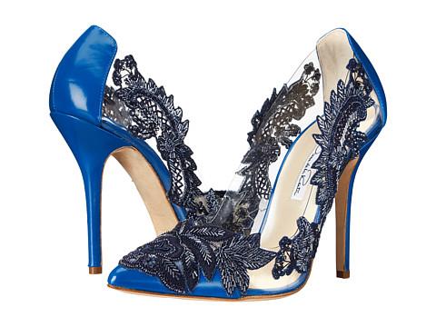 Oscar de la Renta - Alyssa 100mm Pump (Cobalt Embroidery Matte Patent) High Heels