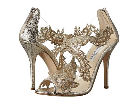 Oscar de la Renta - Ambria 100mm Heel (Smoke Embroidery Crackled Metallic) High Heels