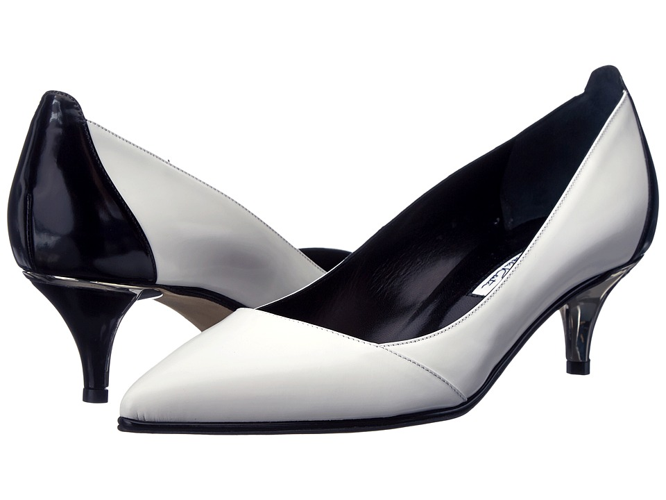 Oscar de la Renta Azelia 45mm Kitten Heel Pump Black-White Matte Patent Womens 1-2 inch heel Shoes