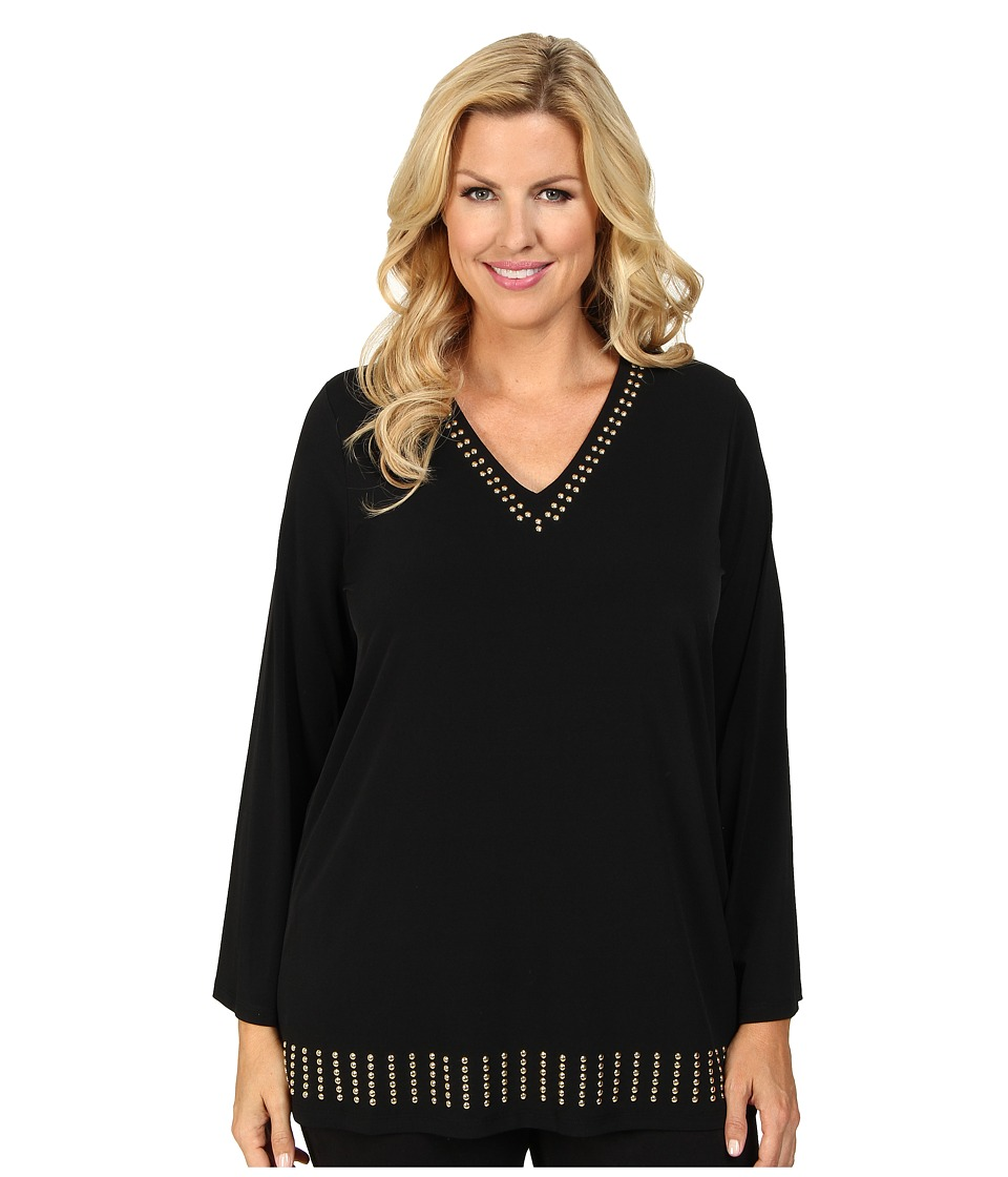 MICHAEL Michael Kors - Plus Size Stud V-Neck Tunic (Black/Gold) Women's T Shirt