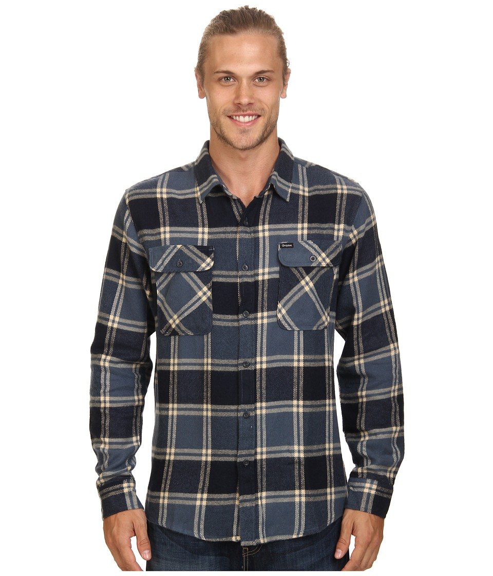 Brixton - Bowery L/S Flannel (Slate Blue) Men's Long Sleeve Button Up
