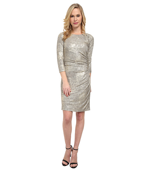 Tahari by ASL Petite - Petite Kris Dress (Taupe/Gold) Women