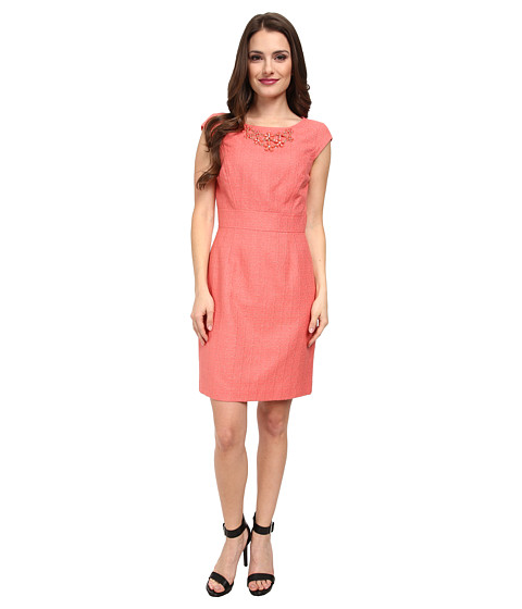 Tahari by ASL Petite - Petite Morgan Dress (Coral) Women's Dress