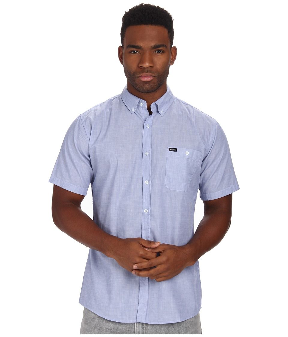 Brixton - Central S/S Woven (Heather Blue) Men's Short Sleeve Button Up
