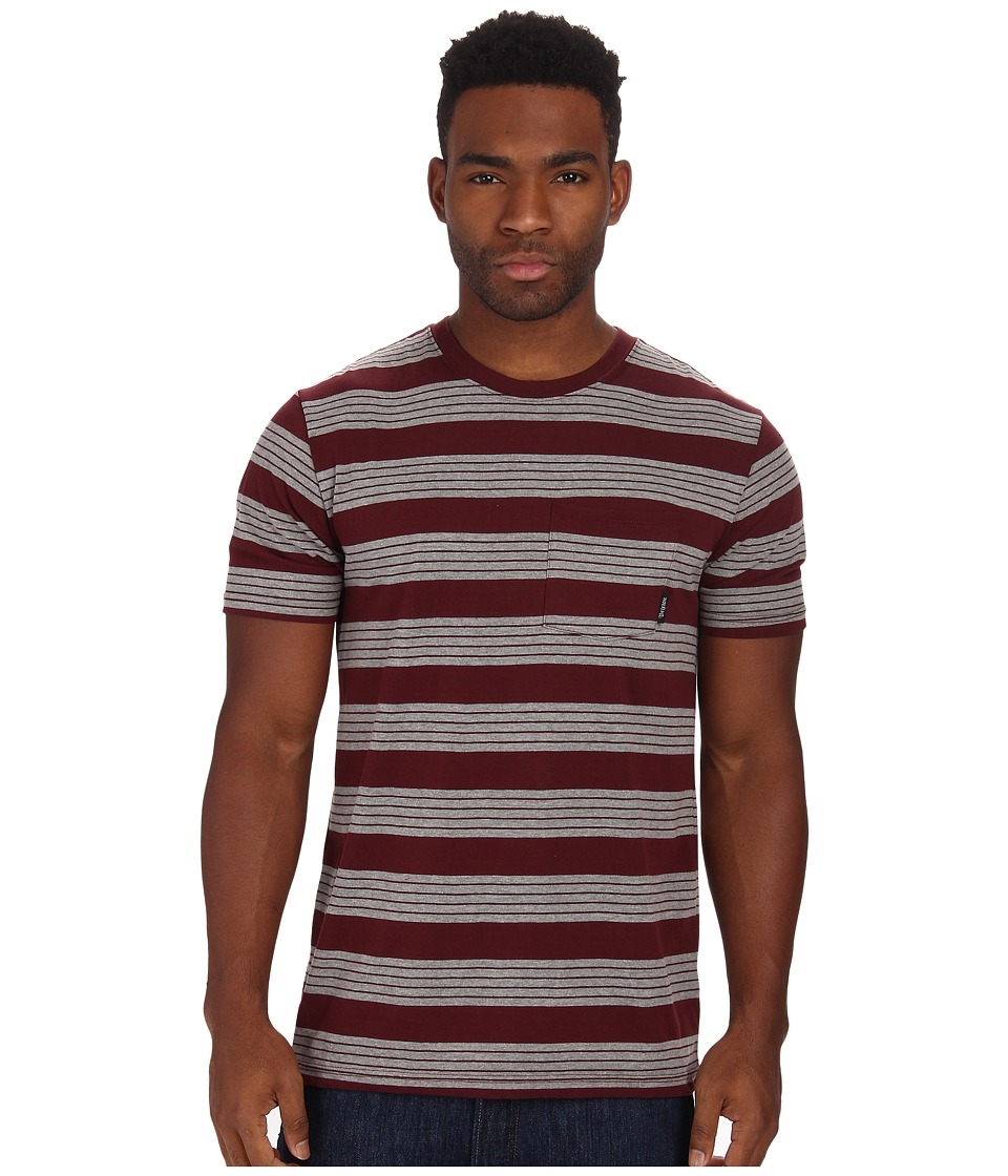 Brixton - Hilt S/S Pocket Knit (Burgundy/Heather Grey) Men's Short Sleeve Pullover