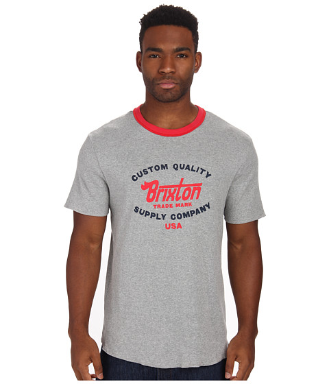 Brixton - Erwin S/S Knit (Heather Grey/Red) Men's Short Sleeve Pullover
