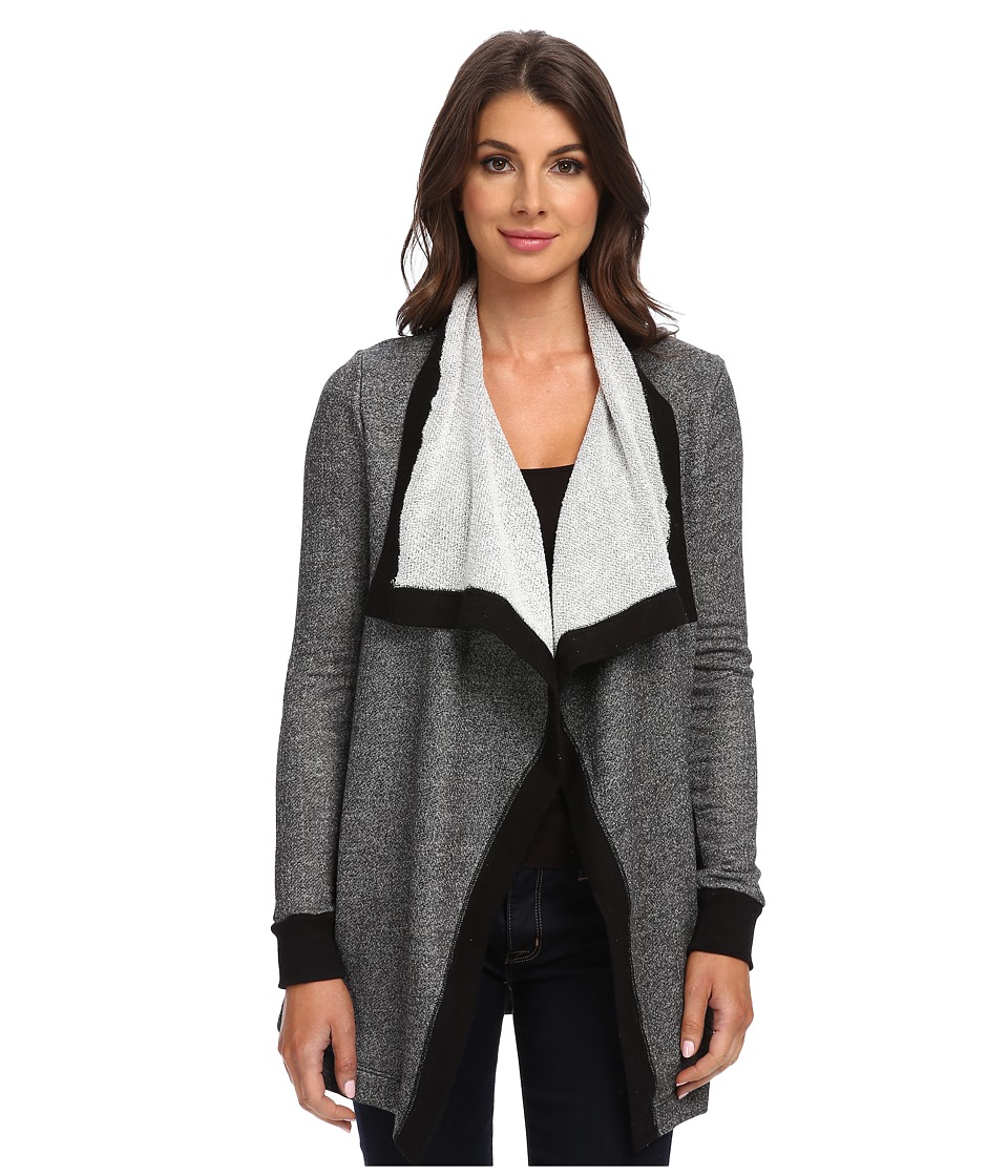 Three Dots - L/S Wrap w/ Contrast (Charcoal Grey) Women's Sweater