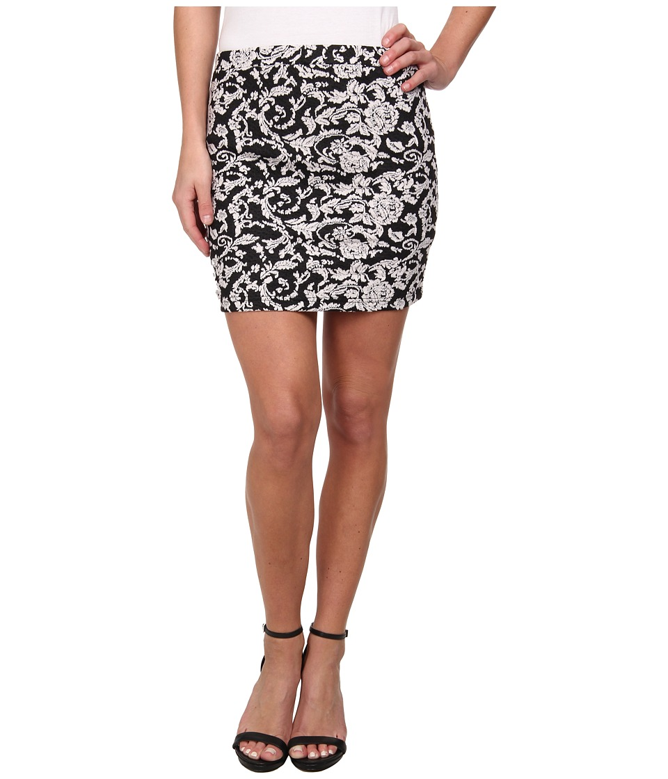 Jack by BB Dakota - Kiki Floral Knit Jacquard Skirt (Black/White) Women's Skirt