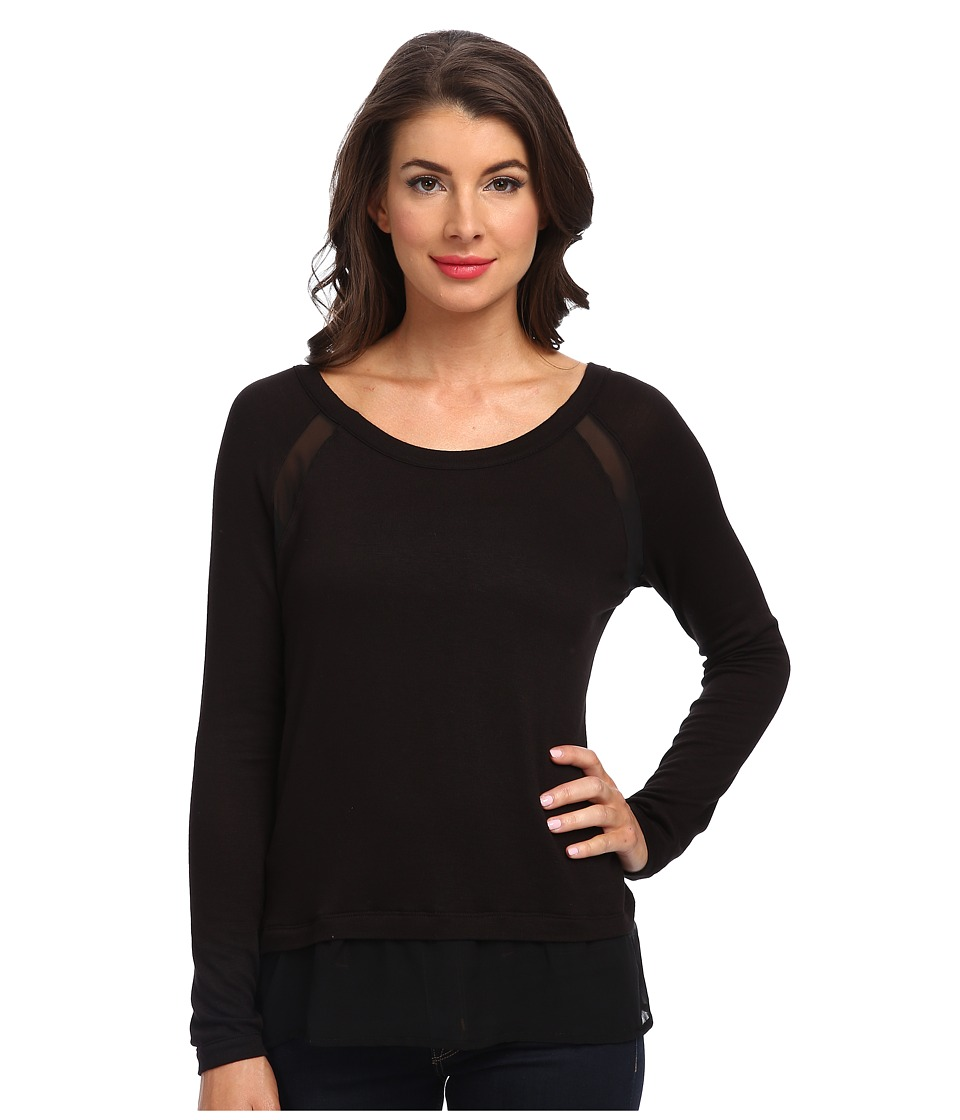 Three Dots - Sweater w/ Contrast (Black) Women's Long Sleeve Pullover
