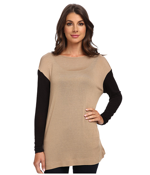 Three Dots - Easy L/S Boatneck Tunic (Arabian Camel/Black) Women's Long Sleeve Pullover