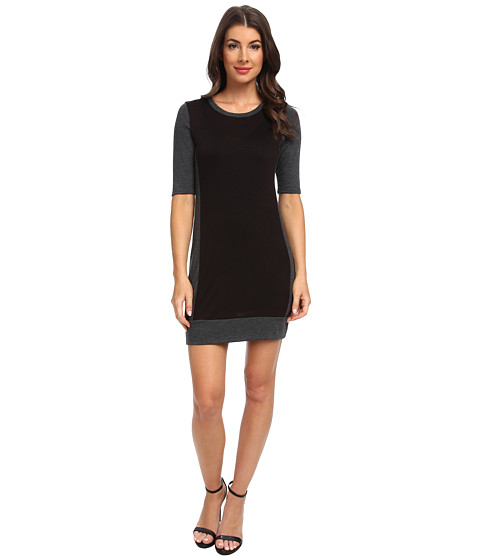 Three Dots - 1/2 Sleeve Sheath Dress (Black/Charcoal) Women