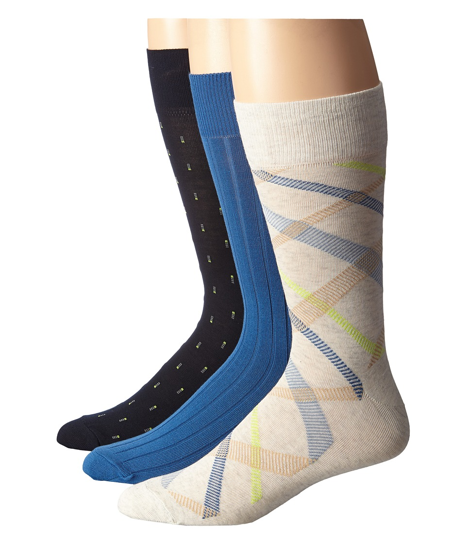 Cole Haan - Tree Top 3-Pack (Blue Blazer) Men's Crew Cut Socks Shoes