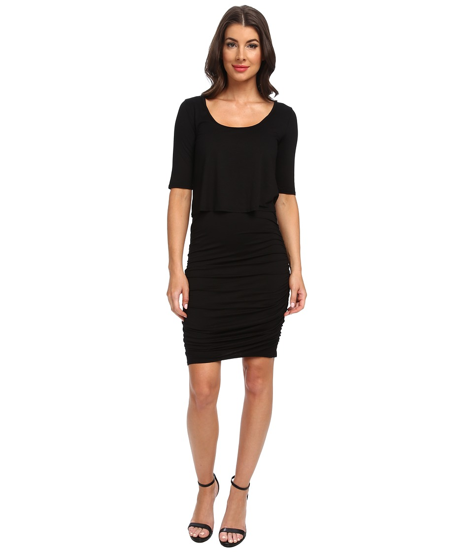 Three Dots - 2-Fer 1/2 Sleeve Dress (Black) Women