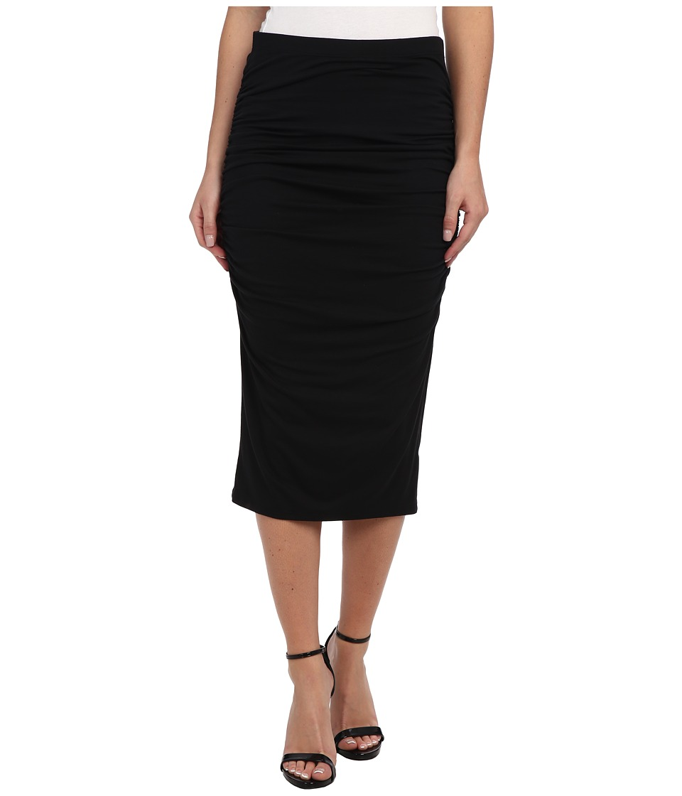Three Dots - Ruched Midi Skirt (Black) Women's Skirt