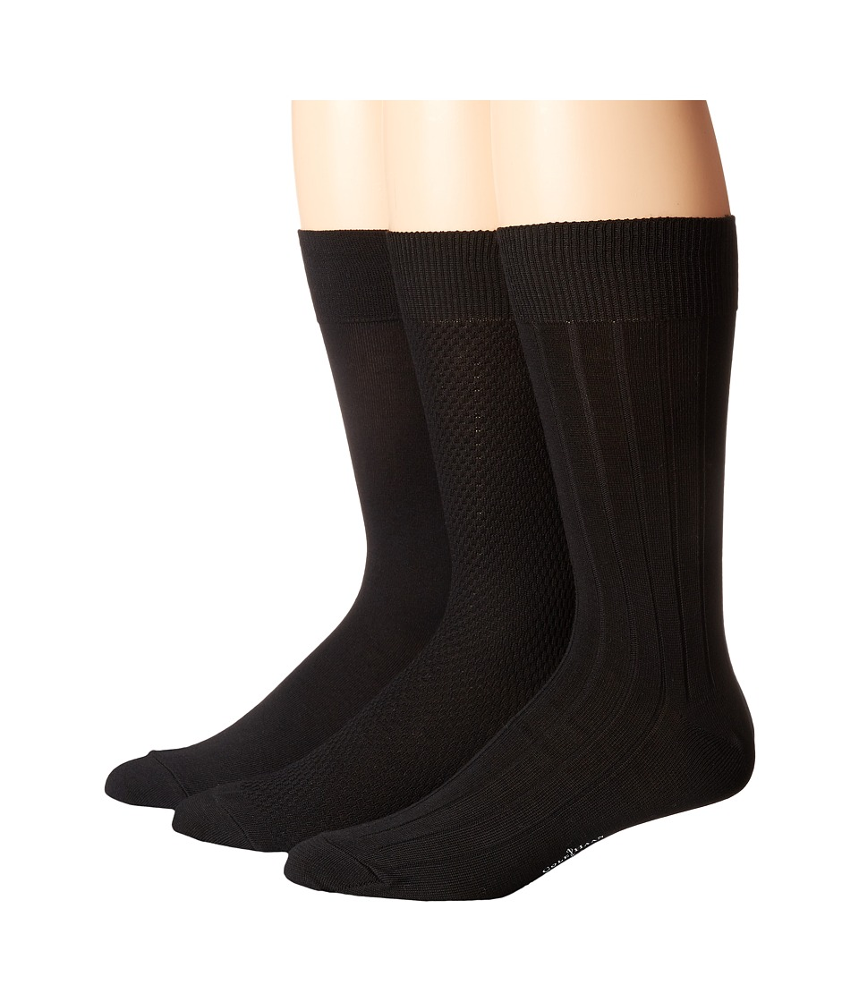Cole Haan - Mini Texture 3-Pack (Black) Men's Crew Cut Socks Shoes