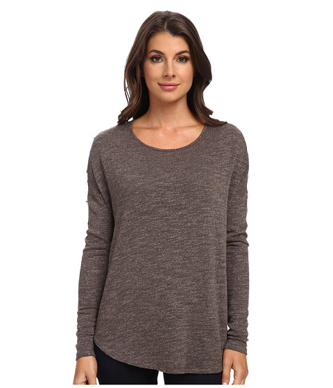 Three Dots - L/S Relaxed Shirt Tail Top (Pebble Grey) Women