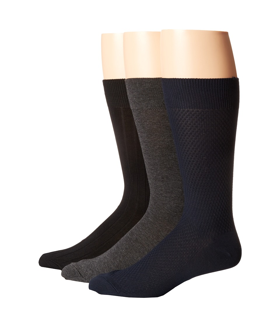 Cole Haan - Mini Texture 3-Pack (Navy/Dark Grey Heather/Black) Men's Crew Cut Socks Shoes