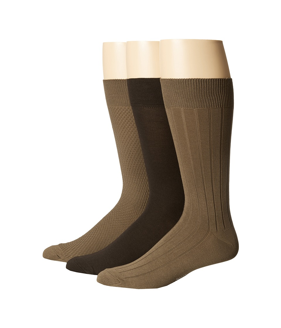 Cole Haan - Mini Texture 3-Pack (Earth/Cafe/Earth) Men's Crew Cut Socks Shoes