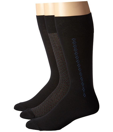 Cole Haan - Midnight Stars Crew 3-Pack (Black) Men's Crew Cut Socks Shoes