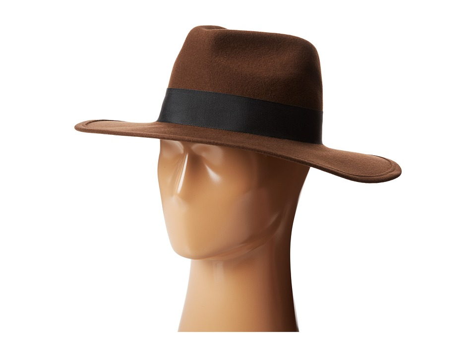 Hat Attack - Glam Hat (Brown w/ Black Ribbon Trim) Knit Hats