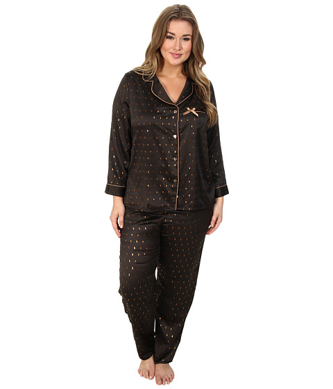 Betsey Johnson - Plus Size Sexy Satin PJ Set (Gold Speckles/Raven Black) Women