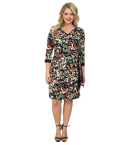 Tahari by ASL Plus - Plus Size Patty Dress (Taupe/Black/Poppy) Women's Dress