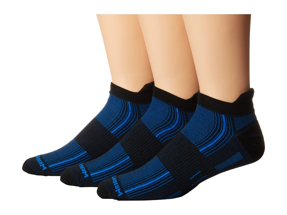 Wrightsock - Stride Tab 3 Pack (Black/Blue) Low Cut Socks Shoes
