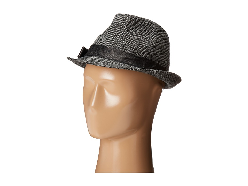 Hat Attack - Tweed Fedora w/ Leather Trim (Black) Fedora Hats