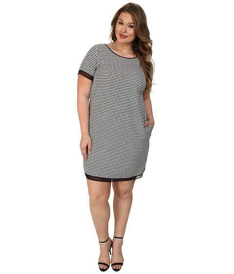 Tahari by ASL Plus - Plus Size Anna Dress (Black/White) Women
