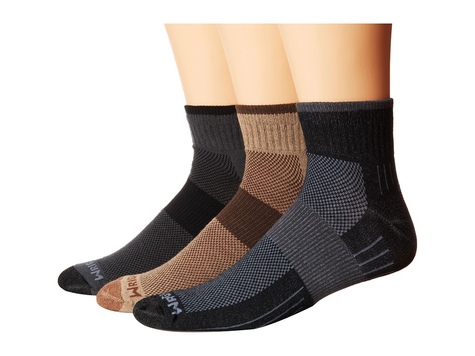 Wrightsock - Escape Quarter 3 Pack (Khaki/Ash/Black) Quarter Length Socks Shoes