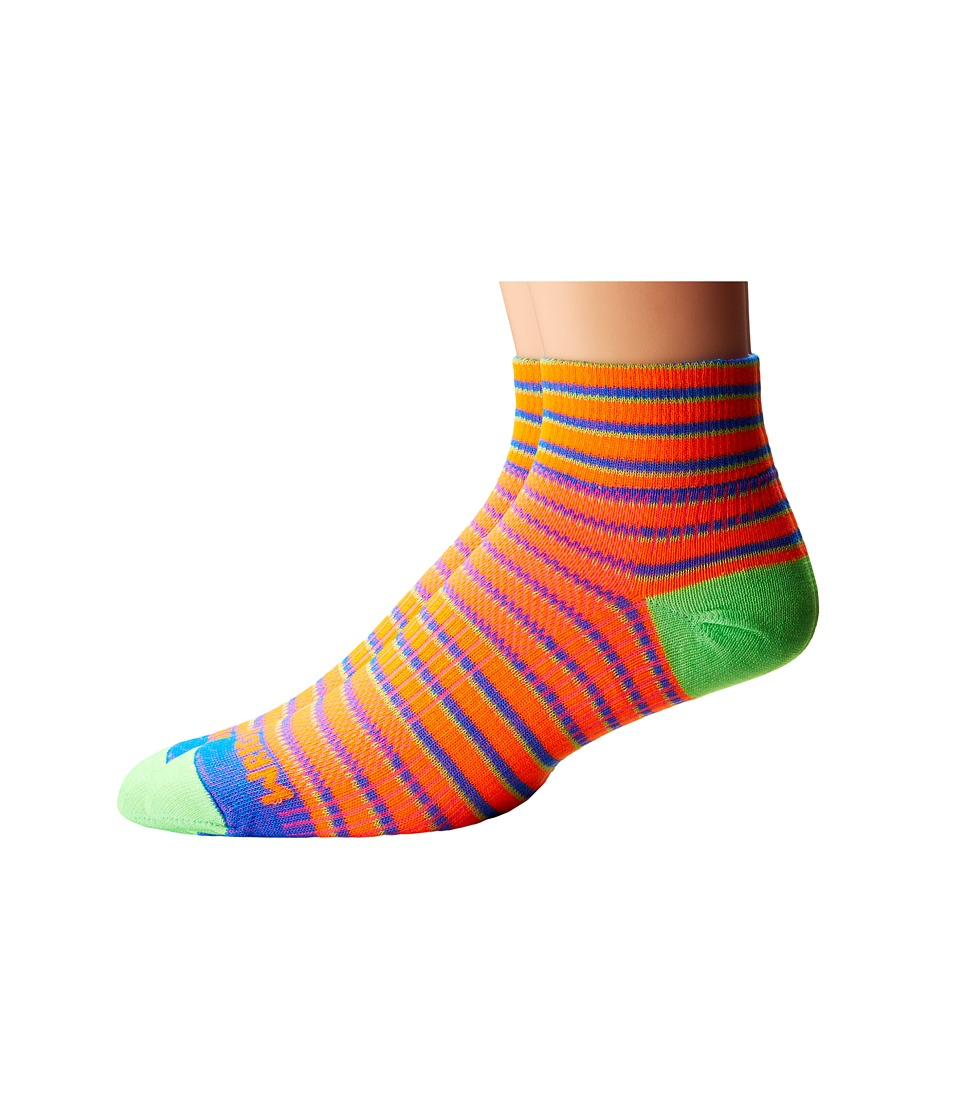 Wrightsock - Coolmesh II Quarter Stripes 3 Pack (Orange/Blue/Green) Quarter Length Socks Shoes