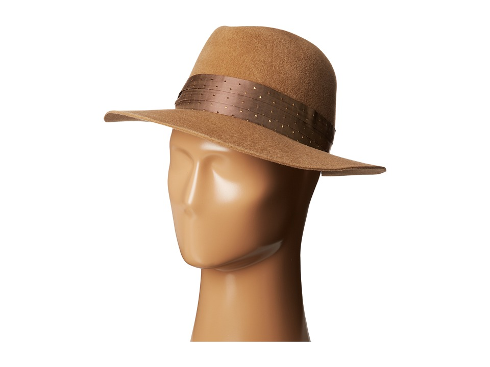 Hat Attack - Velour Medium Brim (Camel w/ Taupe Dot Band) Traditional Hats