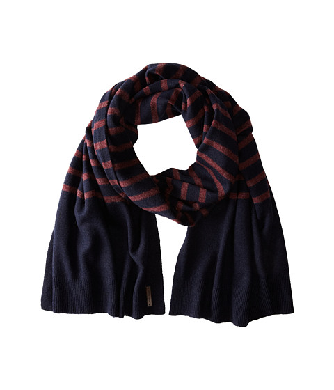 Cole Haan - Lightweight Wool Stripe Muffler (Solid Blazer Blue) Scarves