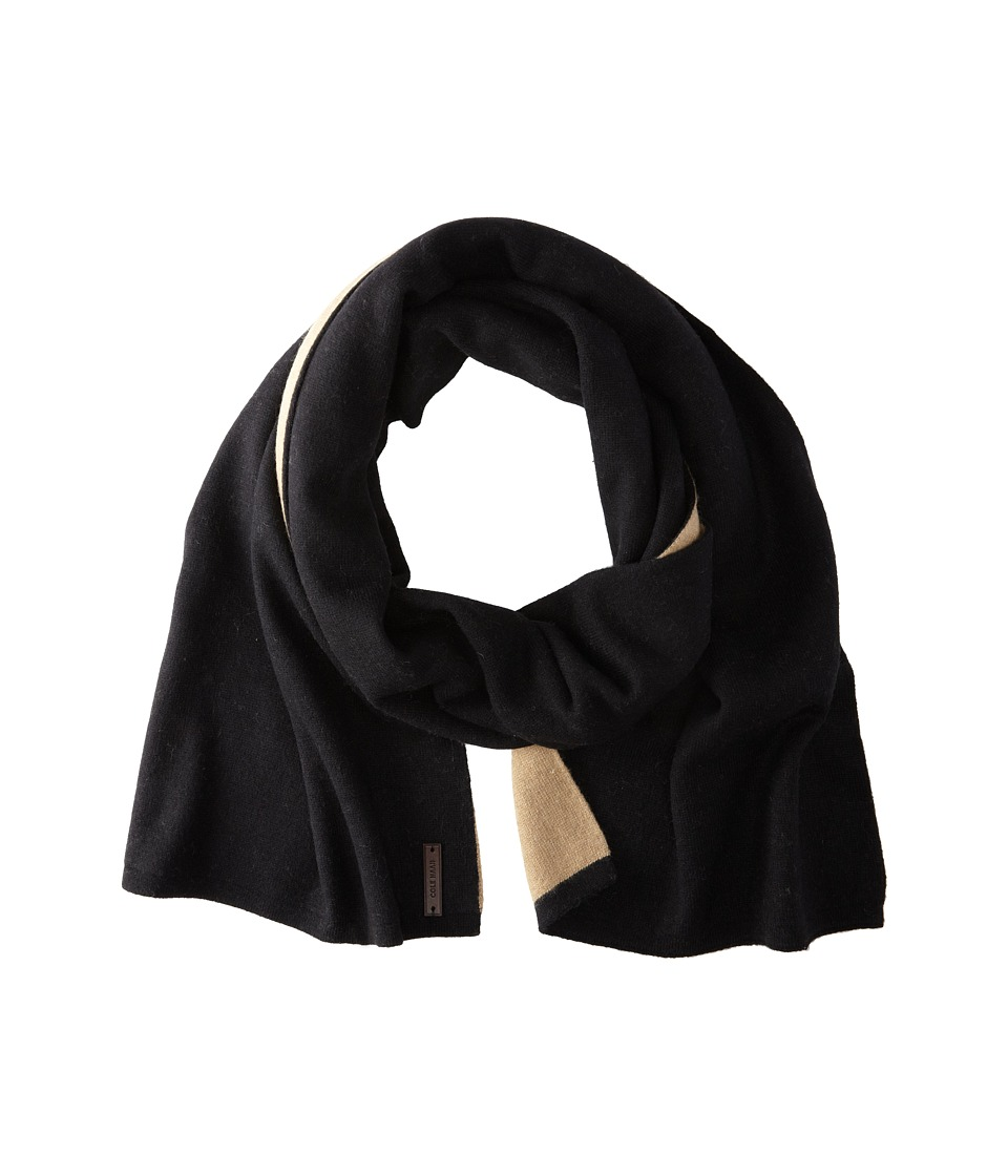 Cole Haan - Doublefaced Colorblock Muffler (Black) Scarves