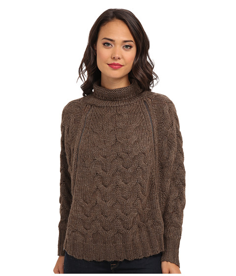Free People - Cable Zip Cape Cardigan (Mocha Heather) Women