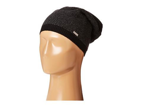 MICHAEL Michael Kors - Herringbone Rever Cuff Hat (Black/Charcoal) Caps